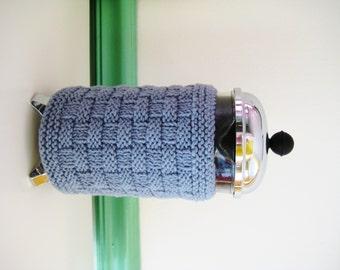 French Press Coffee Cozy  Slate Blue Basketweave