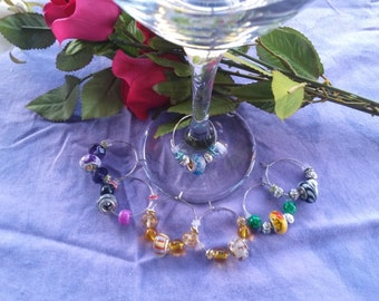 Wine Charms, Murano glass,  seven piece set