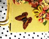 ON HOLD - Vintage Burlap Tote Bag Butterfly Pansy Flowers Yellow
