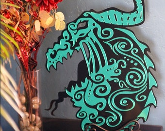 LARGE Cast Acrylic Laser Cut Dragon Plaque Art - Original - Black and Green Mirror Acrylic