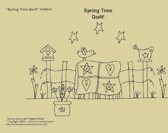 Primitive Stitchery E-Pattern, Spring Time Quilt!