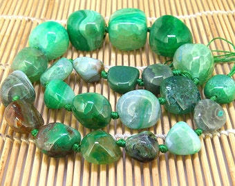 "Full Strand Knotted Nugget Green Tower Agate Beads ----- 10mm -22mm----- about 21Pieces ----- gemstone beads--- 19"" in length"
