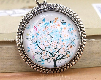 Washing Tree Blue White Flower Antique Bronze Antique Silver Pendant  Victorian Bead Cabochon  1inch Pendant Kits Photo Clear Glass Ornament