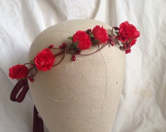 Woodland flower hair wreath (romantic deep red rose) - Wedding headpiece, headband, vintage inspired rose crown, french ribbon pip berries
