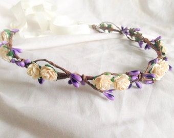 Tinkerbell's berry garland hairpiece - An ivory rose and berry hair wreath floral crown