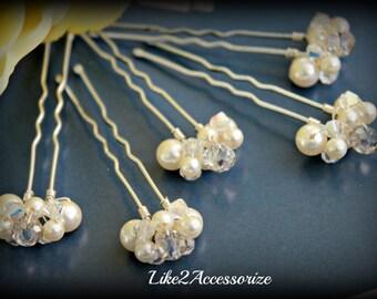 Bridal Hair Pins Wedding Hair Accessories Rose Gold Pearls Bridesmaid Hair Clip Bridal Pearl Pins Ivory Champagne White Hair Pin Set of 5