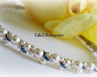 Something Blue Tiara Swarovski Ivory Pearls Rhinestone Bridal Tiara Headband Beaded Pearl Headband Wedding Accessories Bridal Hair Piece