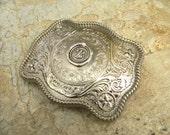 Monogram Letter B Wax Seal Silver Belt Buckle,  Western Belt Buckle, Groomsmen Gift, Bridesmaid Gift, Custom Monogrammed Stamp Belt Buckle