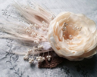 Flower French Barette /Wedding Fascinator/ Cream Peony Feathers Hair Piece