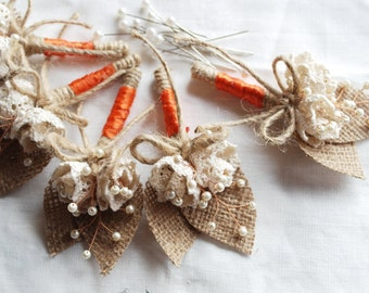 Made to order/Rustic Burlap Boutonniere. Lace Flowers, Glass Pearl Beads