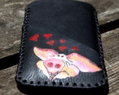 iPhone 6S handmade and hand painted leather case with 1 external pocket for credit card.