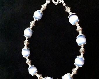 Tibetan Silver and Blue Cat's Eye Bracelet