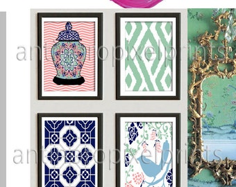 Navy Green Pink Garden Gate Wall Prints, Ginger Jar, Damask and bird (4) 8 x 10 Prints, Custom Colors Sizes Available
