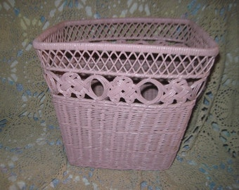 Pink Wicker Waste Basket  /Vintage Basket :)  / New Listing NOT Included in Any Coupon Sales/S