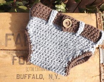 Crocheted Denim Diaper Cover