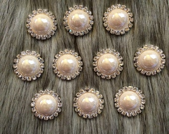 10 pieces Ivory Pearl Rhinestone Buttons 21mm - Pearl buttons