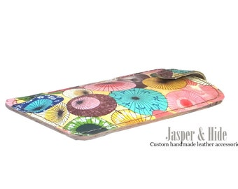 Leather Phone sleeve- Japanese Umbrellas- Custom handmade for any phone