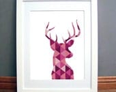 Deer Print, Deer Antlers Wall Art, Triangle Geometric Deer Print, Purple Wall Art, Deer, Geometric Deer, Pink Wall Print, Deer Antler
