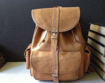 Brown Leather Backpack, Rucksack Bag, Tan Brown Sac, School Bag Shoulder Straps