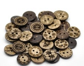 25 Bulk Mixed Coconut Shell Wooden Buttons - 15mm (5/8 inch) - 2 Hole - Assorted Coconut Wood Button (19947)