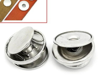 20 Chunk Noosa Silver Charm Stud DIY 3 part - Popper Snap on - Silver Chunk Button DIY (30490)