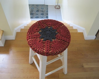 Crochet Bar Stool Cover/Cozy - redwood heather/dark grey (CBSC1D)