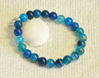 Shades of Blue with Turquoise color Dragon Vein Agate 8mm  beaded gemstone stretch, stacking, healing, unisex, girls, boys bracelet  B010