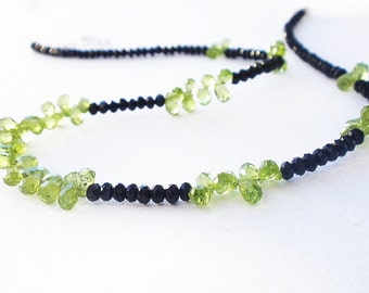 Natural Gemstone Peridot Faceted Briolette -  Black Agate Faceted Rondelle - 925 Sterling Silver Necklace