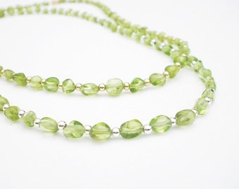 Natural Gemstone Peridot Dainty Nugget Necklace - Choose Either 925 Sterling Silver or 14kt Yellow Gold Filled