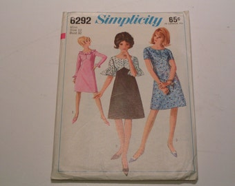 Vintage Simplicity Pattern 6292 Miss One Piece Dress