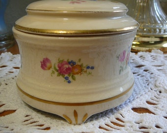 """SaLe, Royal Copley Music box plays """"Roll Out the Barrell"""", Rose Pattern, Jewelry box, floral blue & pink , round porcelain box"""