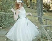 Short Wedding Dress, Tea Length Dress, Ivory Wedding Dress, 50S Wedding, Lace Wedding Dress, Tea Length Dress, Handmade, SuzannaM Designs