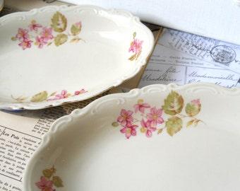 2 vintage porcelain serving dishes german porcelain oval porcelain bowl serving tureen dish shabby chic