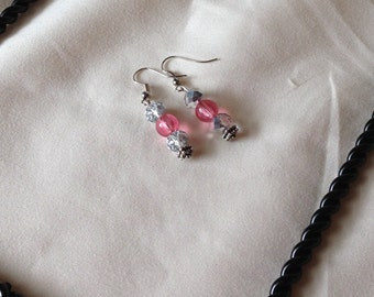 Silver Dangle Pink Glass Beads with Mirrored Glass Crystal Beads Pierced Earrings