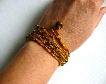 Crochet beaded bracelet, linen crochet bracelet, Bohemian crochet bracelet, Birthday gift, Shabby chic bracelet, wedding romantic bracelet