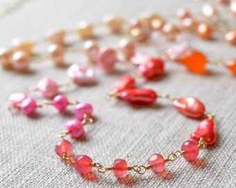 Long Gemstone Necklace, Coral Pink Orange Yellow, Citrine Rose Lemon Quartz, Freshwater Pearl Jewelry - Changing Sunrise - Free Shipping