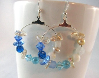 Beach, sand and sea, hoop earrings, swarovski crystal, pearl, ocean blue, sand beige