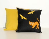 Best Halloween Decoration, Cat and Bat Pillow Covers, Appliquéd Throw Pillow Cases (2), Mustard Black Orange