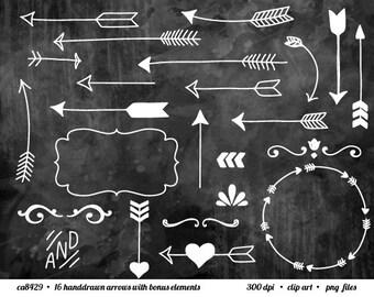 Arrow Clip Art, Tribal Arrow, White Arrow Clipart - Chalkboard Style - Clip art for digital scrapbooking, frame, invitation, stationery,card