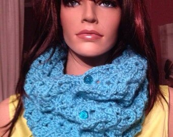 Beautiful Crochet Turquoise Scood