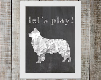 Border Collie 'let's play!' Chalkboard Print