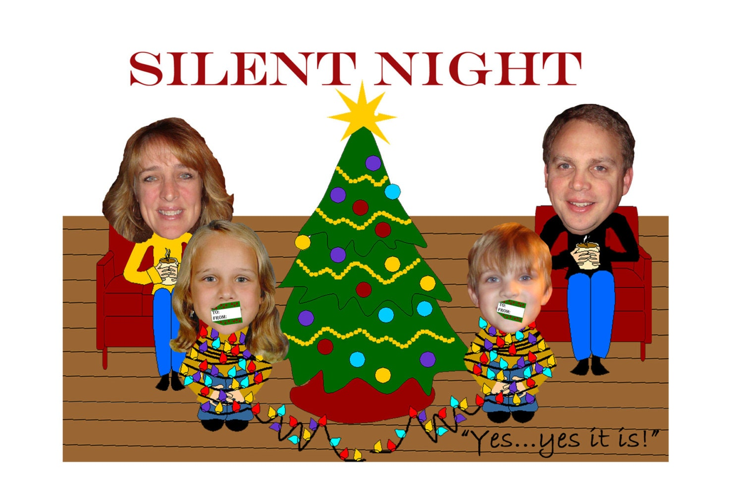Unique christmas card silent night layout funny family for Unique family christmas cards