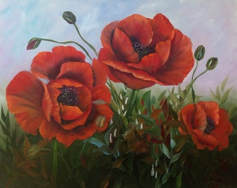 Red Poppies Large Oil Painting on Box Canvas 20 x 23 inches