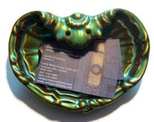 Vintage Zsolnay Eosin Shell Dish Iridescent Porcelain / Collectible Carnival Glass