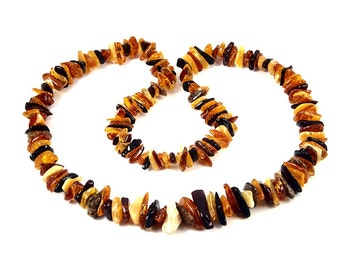Exclusive Baltic Amber Necklace Multi color Mixed Beads 70 cm 28 inches