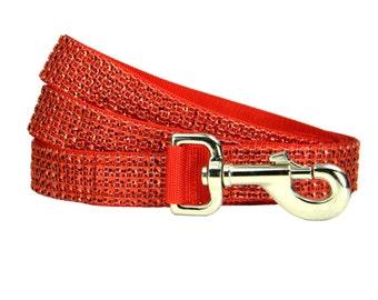 Red Rhinestone Dog Leash, Dog Lead, Collar and Leash Set: Red Hot Rhinestone