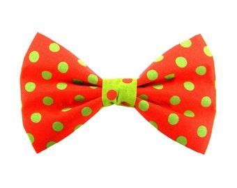 Christmas Dog Collar Bow Tie, Red and Green Polka Dot Dog Bow Tie: Christmas Dots