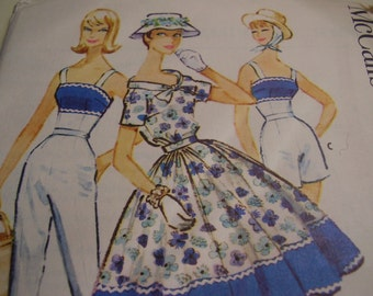 Vintage 1950's McCall's 4971 Blouse, Skirt, Camisole, Pants and Shorts Sewing Pattern, Size 18, Bust 38