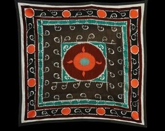 53 x 55 Vintage Suzani Old Embroidery Suzani Wall Hanging Uzbek Suzani Table Cover Ethnic Suzani FAST SHIPMENT with ups - suzani-108