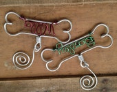 Personalized Pet Ornament - Dog Bone Ornament, Gifts for Pets, Handcrafted Wire Dog Bone with Pet's Name - Dog Christmas Gift